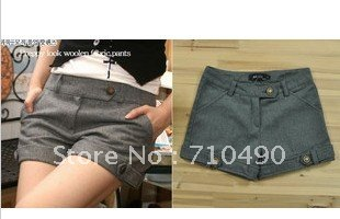 Female shorts copper thick woollen shorts? Buckle in spring and autumn pants female trousers hot pants wadded pants