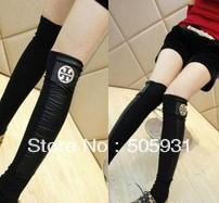 Female socks stockings metal decoration PU patchwork thread cotton step stocking stockings set socks,1pair 1 lot