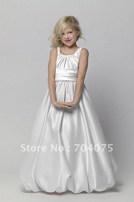 First Communion Dresses 2012 New Arrival Floor length Satin Bubble Hem Dress  (F44261)