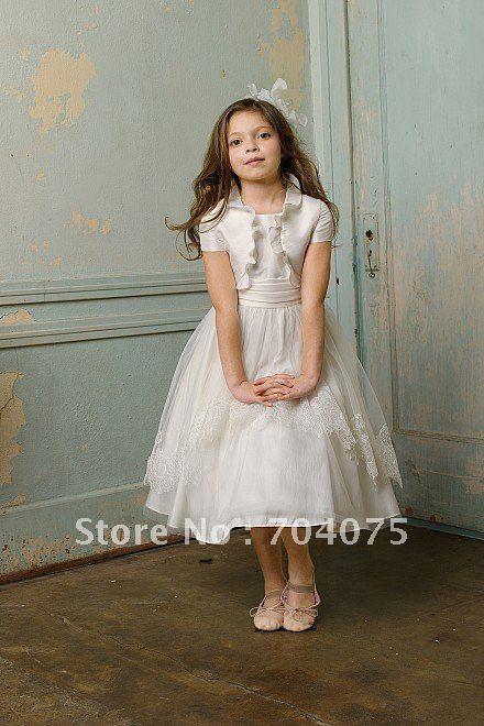 First Communion Dresses 2012 New Arrival Tea-length Appliques Beading Taffeta Dresses (F43768)