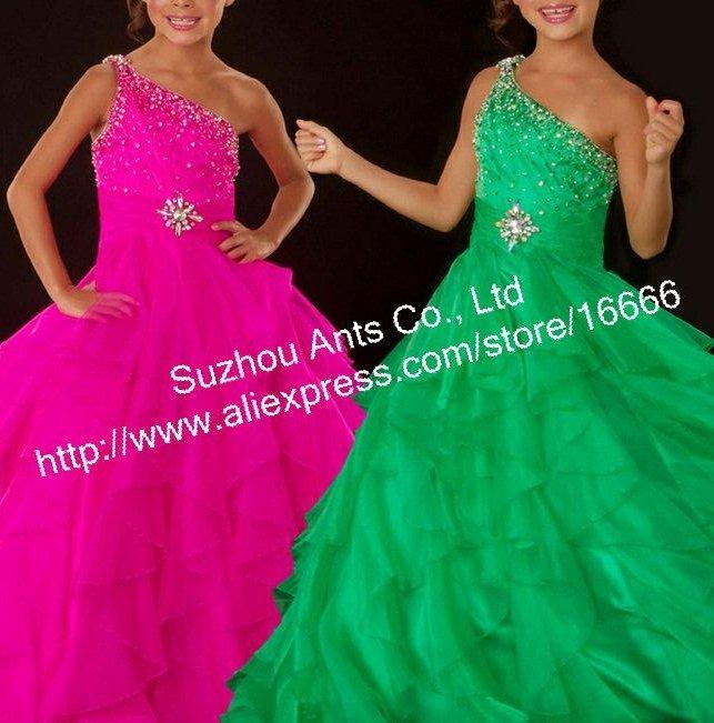 FL188 Organza 2012 Flower Girl Communion Dresses One shoulder