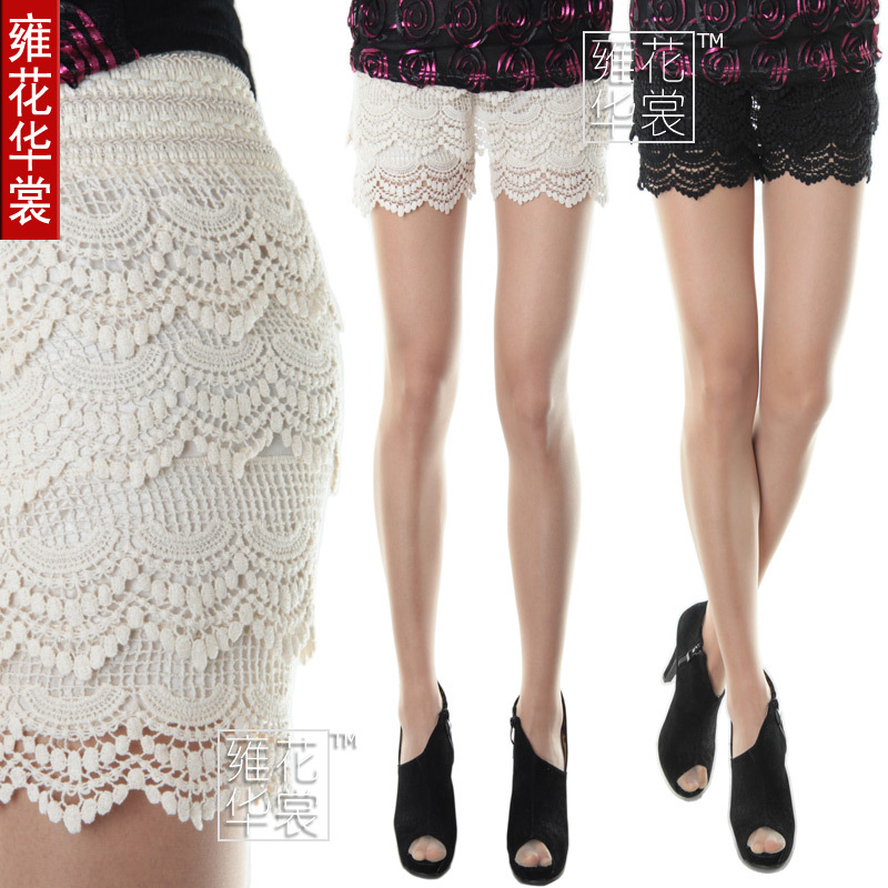 Flower cotton lace skirt pants shorts lace legging female