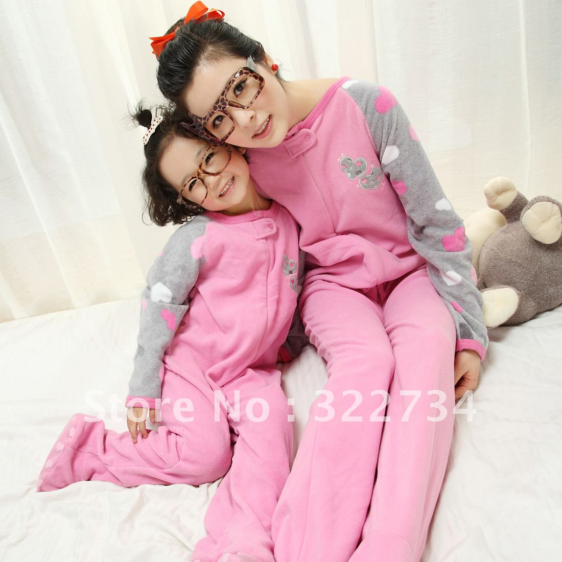 footed pajamas women and girls one piece sleepwear cartoon spring and autumn romper sleeping bag
