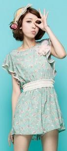 Forest princess summer new dress broken flower chiffon even body pants conjoined twin pants split skirt