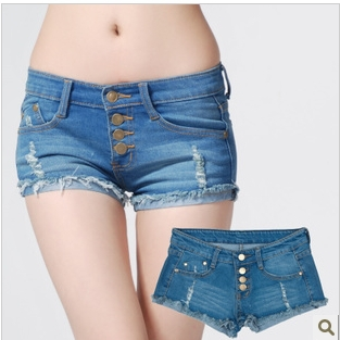 Frayed 2013 Hotsale Destroyed Design Tassel Denim Shorts Washed Beach Four Button Short Pants Blue (S,M,L,XL) Freeshipping