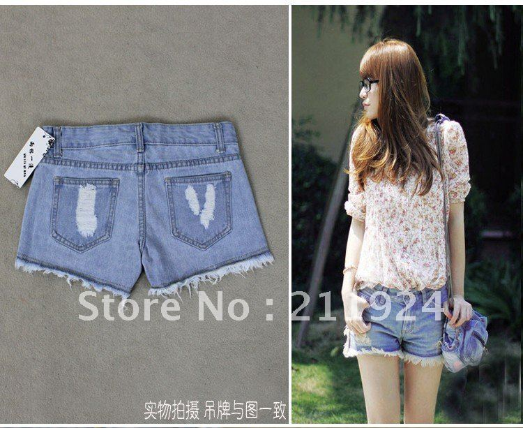 Free CNRAM hot pants with broken hole fashion jeans shorts 2012 summer