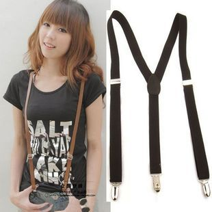 Free delivery Basic adjustable elastic male suspenders women's suspenders