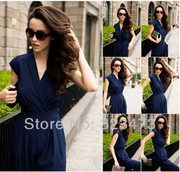 Free/Drop shipping Hot New 2013 Designer Slim Women UK Fashion Ladies Overall Jumpsuit Plus Sizes Rompers Black/Red/Blue