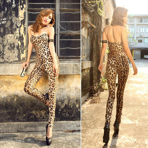 Free Fast Shipping Sexy dress women leopard Jumpsuits Trousers skinny slim mini tight bra top bodycon fitted new style 2013