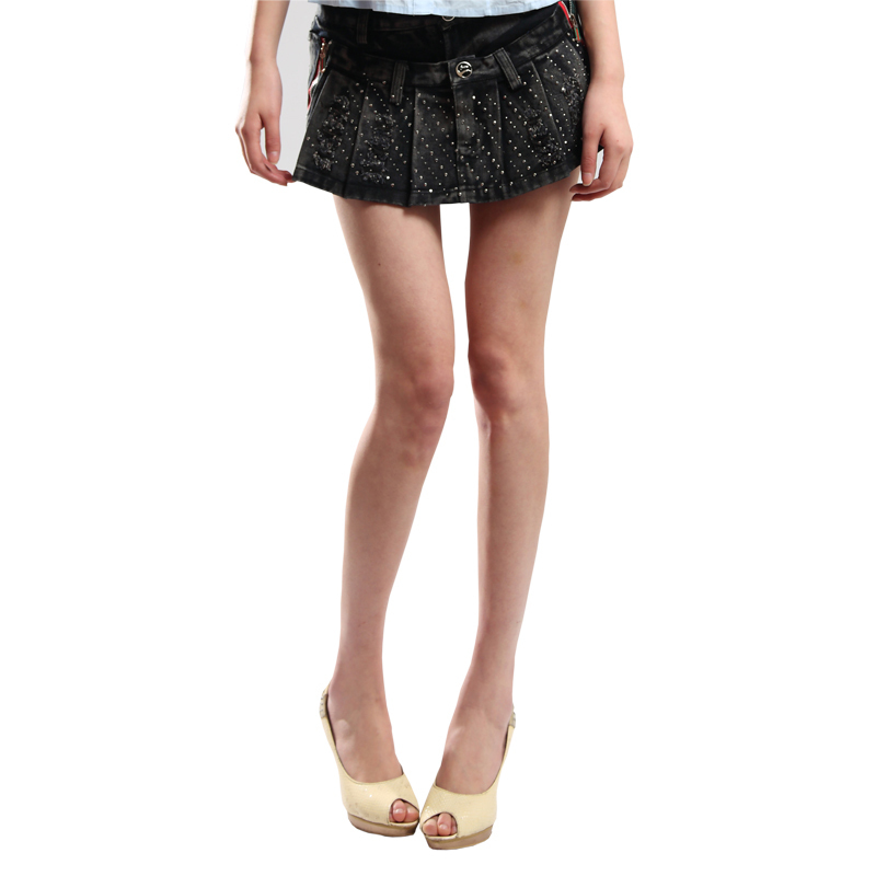 Free services 2011 pleated slim hip denim skirt pants denim shorts denim skirt distrressed