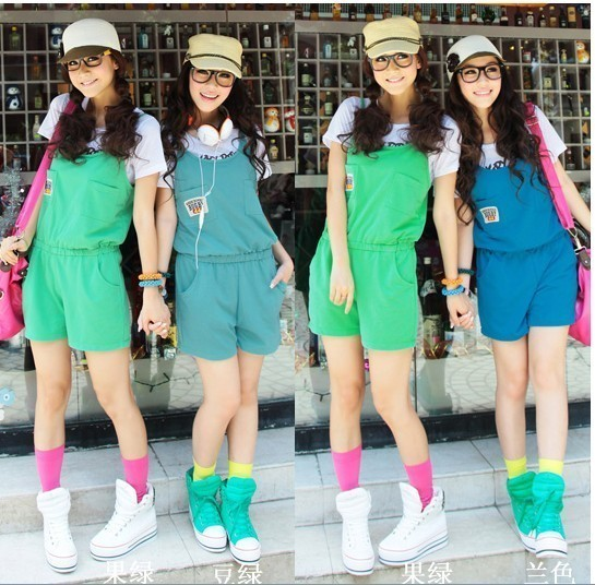 Free services 2012 candy color one piece shorts Women trend spaghetti strap sports one piece shorts