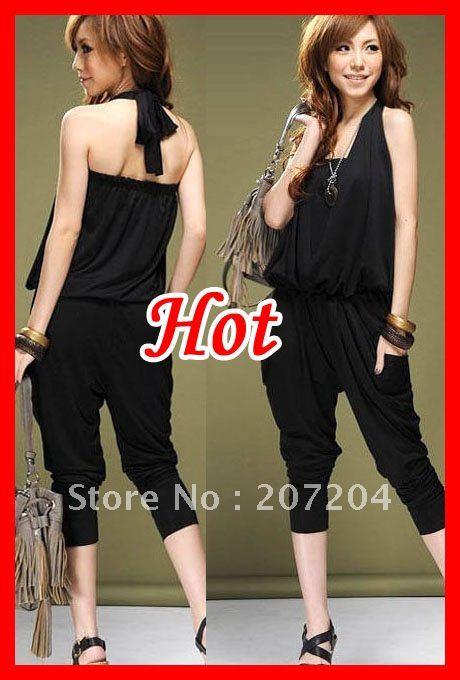 Free ship Fashion neck strap Ladies' good quality blend Harem pants Jumpsuits Rompers Leggings Pants  Wholesale