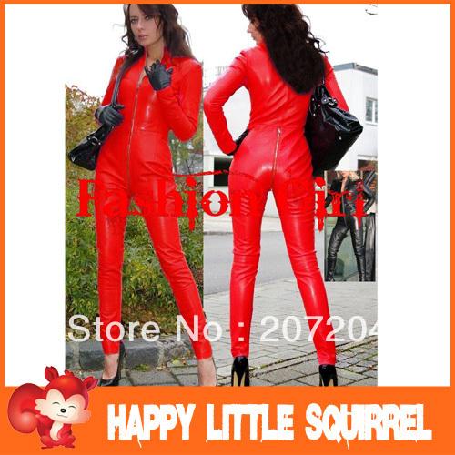 Free Ship Fashion Sexy Lingerie Leather Sexy PVC Black Club Siamesed Dress Black Zipper Front Dress Sexy Clubwear Dress