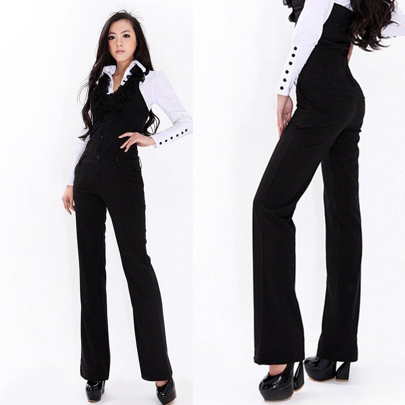 free ship plus size  XL 2012 summer fashion  formal  slim  v-neck sleeveless fuffles collar Black  wide leg jumpsuit trousers
