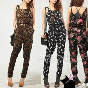 Free Ship Women's Fashion Leopard Floral Peace Doves Vest Jumpsuit