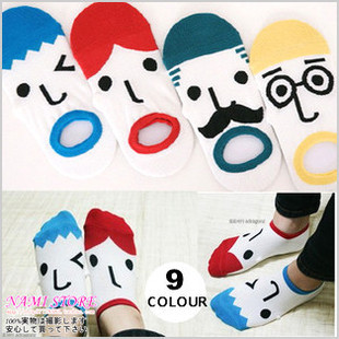 Free shiping Couples Socks cotton sock lovers candy cartoon slippers Funny, expression, male. women.