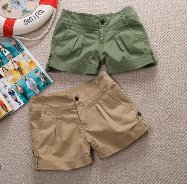 free shiping Summer 2013 new  fashion women  shorts cotton flanging  shorts (Khaki black orange army green) Four color