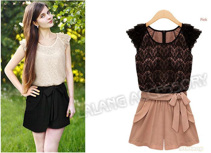 Free Shipping 1 piece/lot Fashion Chiffon 2013 Lace Ruffle Sleeve Round Collor Jumpsuits Overall Women Shorts S/M/XL/XL 651023