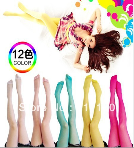 Free shipping 10 pairs of transparent spring  summer  ultra-thin ms candy color sexy color silk socks, tights