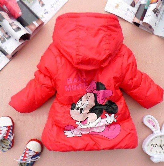 Free shipping 100% 2012 New Winter cotton Girls Children's coat Minnie design the dim thick coat (4PCS/lot)