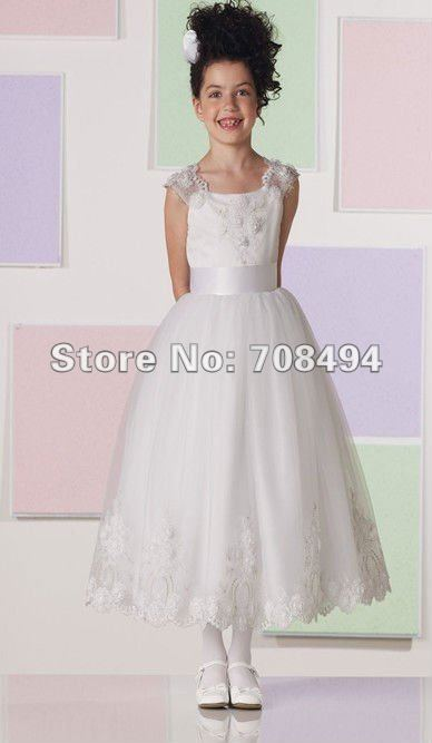 Free shipping 100% custom-made beautiful lovely spaghetti strap organza appliques flower girl Dress-perfect gowns