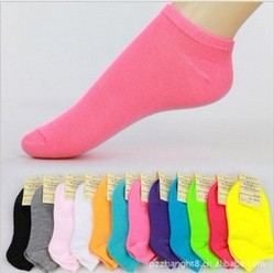 Free Shipping 10pairs Candy Colors 100% Cotton Womens Fashion Low Cut Ankle Crew Slipper Socks more than 10 color