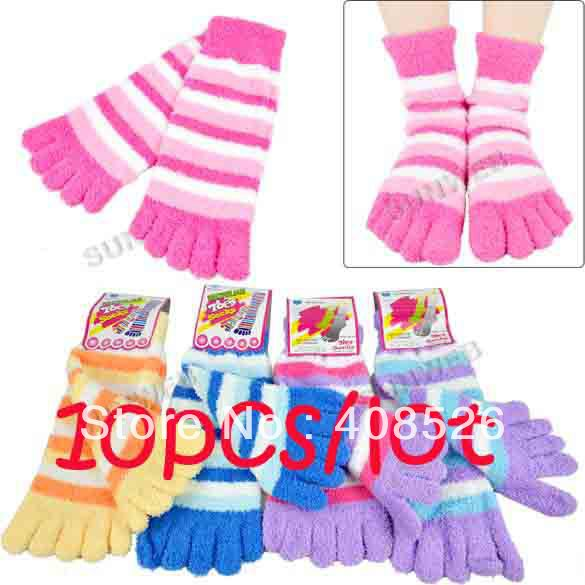 Free shipping-10pairs/lot,Candy Microfiber striped toe socks,Women ,best-selling  6727