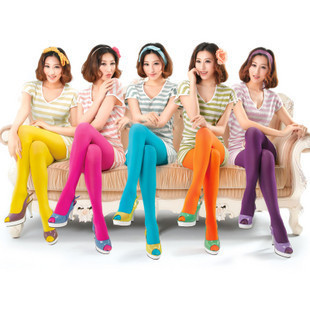 Free Shipping! 10pcs/lot A035 socks candy color velvet 20d sexy ultra-thin female pantyhose stockings
