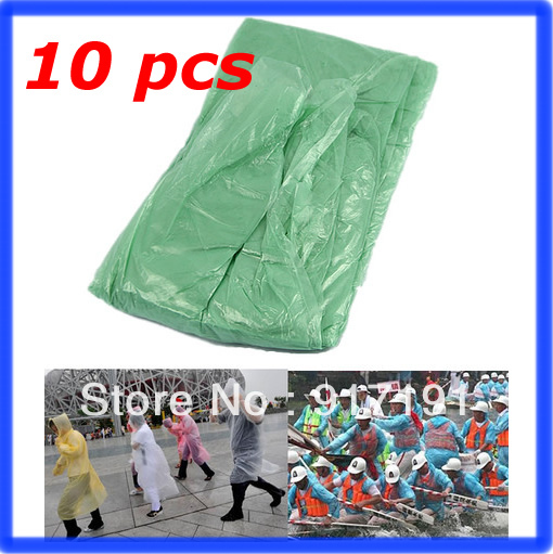 Free Shipping 10pcs/lot Disposable Emergency Raincoat Camping Hood Poncho Camping Travel Hiking Tour