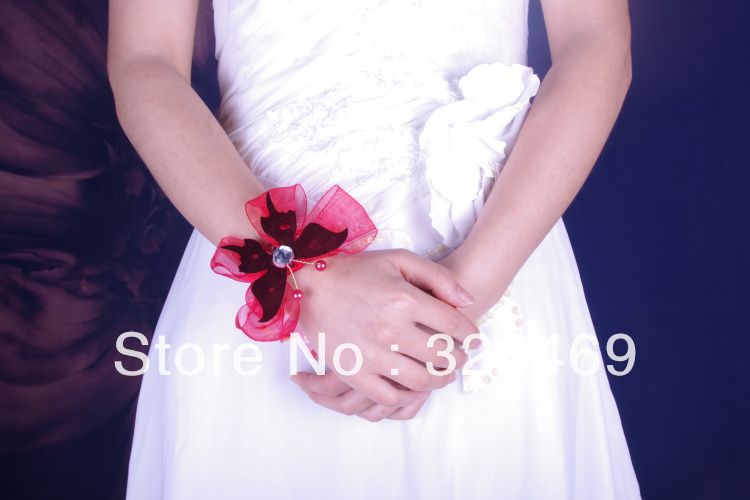 Free shipping 10pcs/lot party romantic red wedding flower wrist corsage from evening bride crystal bouquet ribbon Bracelet