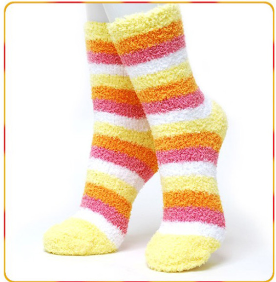Free Shipping! 10pieces/lot Multicolour candy color stripe thickening towel socks thermal  floor socks female autumn and winter