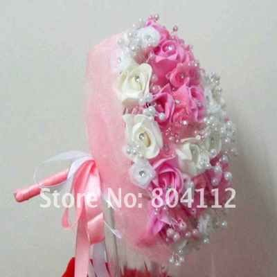 """Free Shipping 12""""  Organze Wrap Foam Rubber Roses bouquet  with crystal"""
