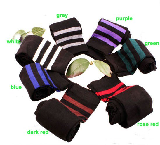 Free shipping+15pairs/lot+ Fashion Thick 100% Cotton 7 colors Good Flexibility Knee high Socks Stockings