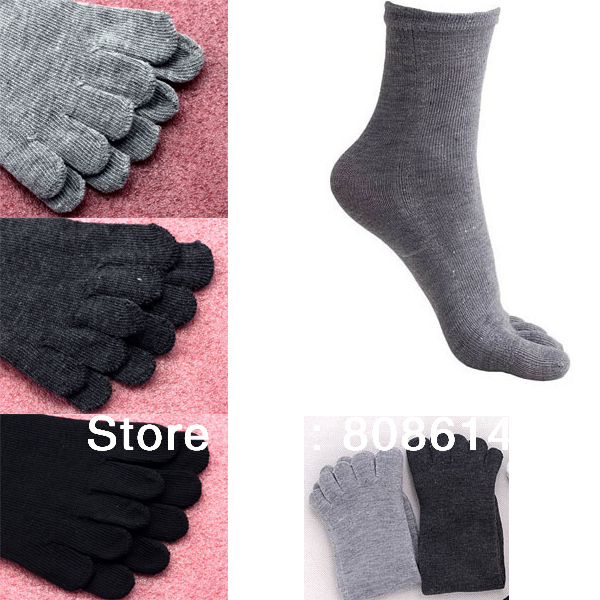 Free Shipping 1pair Top New Men's Women's Unisex Fashion Five Toes Socks Absorbent Comfortable Black Grey Color  Warm Winter