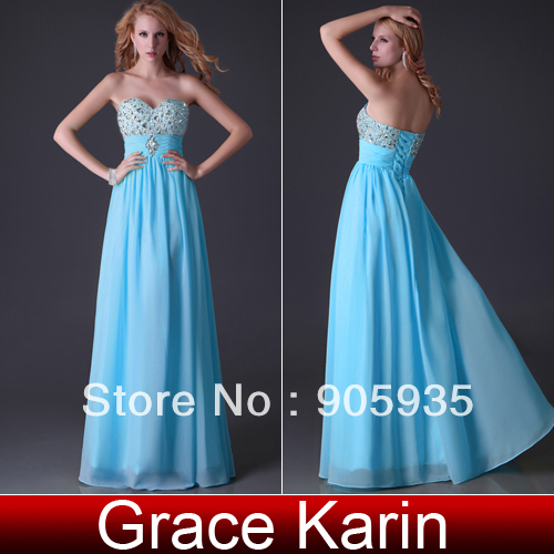 Free Shipping 1pc/lot Grace Karin Strapless Chiffon Blue Floor Length Long Charming Dresses Prom Ball Gown CL3847