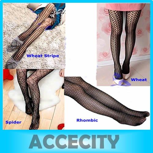 Free shipping 2 Pcs/Lot Fashion Women Black Sexy Jacquard Mesh Pattern Tight Pantyhose Stockings 4 Different Styles to Choose