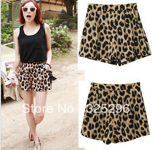 Free shipping (2 piece) 2013 New Women irresistible popular classic leopard leisure shorts hot pants dq128