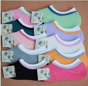 Free shipping 20 pairs/lot hot sale bamboo fibers socks women invisible sock slippers non-slip solid color wholesale