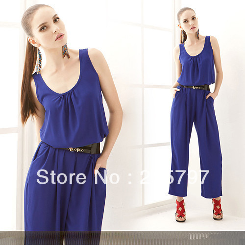 Free shipping 2012-2013 new hot fashion casual jumpsuit trousers U Neck
