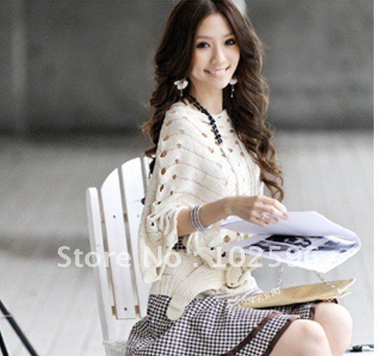 Free Shipping,2012 Autum Fashion Bats sleeve hollow out manual knitting Sweater Coat ,white/gray/khaki   A039