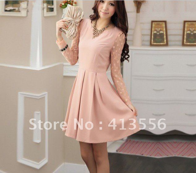 Free Shipping   2012 autumn and winter the new wave point stitching Network yarn long-sleeved ladies dress female   b158 ow