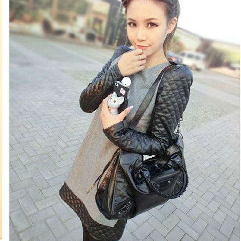 Free shipping 2012 autumn and winter women woolen patchwork leather shoulder pads small long-sleeve dress