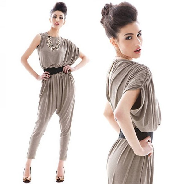 Free shipping/2012 Autumn New/HotJumpsuits & Rompers/Fashion/charm/asymmetric/one-shoulder/wrinkle/gray/Dress/Cotton/RG1207037