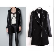 Free shipping/2012 autumn PU leather sleeves epaulette black coat lady