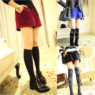 Free Shipping 2012 Autumn Winter New Arrival loose woolen shorts With Elastic Waist pants (Red+Blue+Black+Beige)121203#2
