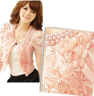 free shipping 2012 autumn women new fashion clothing pink black white pearls rose casual blazers jackets cardigan coats suit 056
