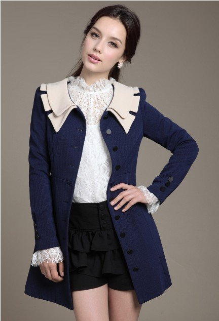 Free shipping 2012  Best  selling New Women's Trench Coat,Lace slim long design trench  8131