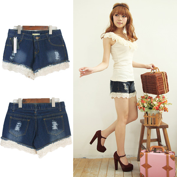 Free shipping 2012 distrressed retro finishing lace decoration low-waist denim shorts 09966 MYYH