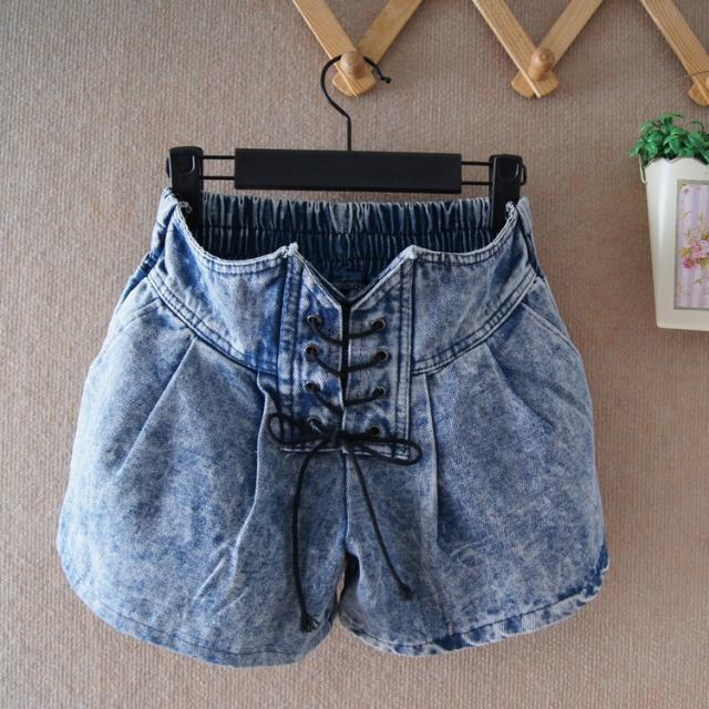 Free Shipping! 2012 Drawstring Waist Vintage Loose School Harem Denim Lantern High Waisted Short Culottes P0645#