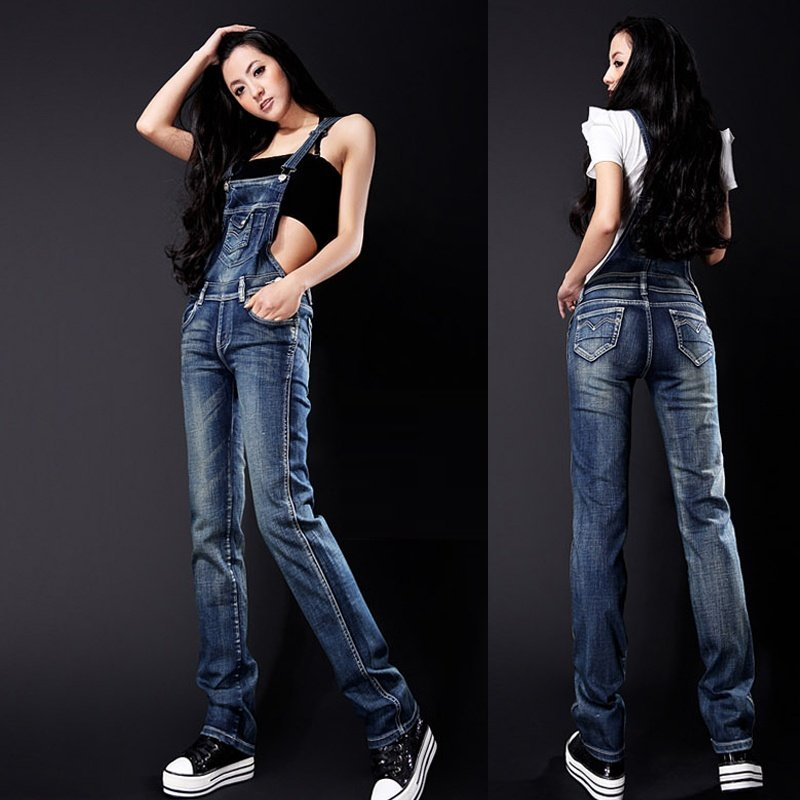 free shipping  2012 fashion Casual   plus size XXL-XL super quality slim  Lady's Blue denim  Jumpsuits  Blue  Denim Rompers
